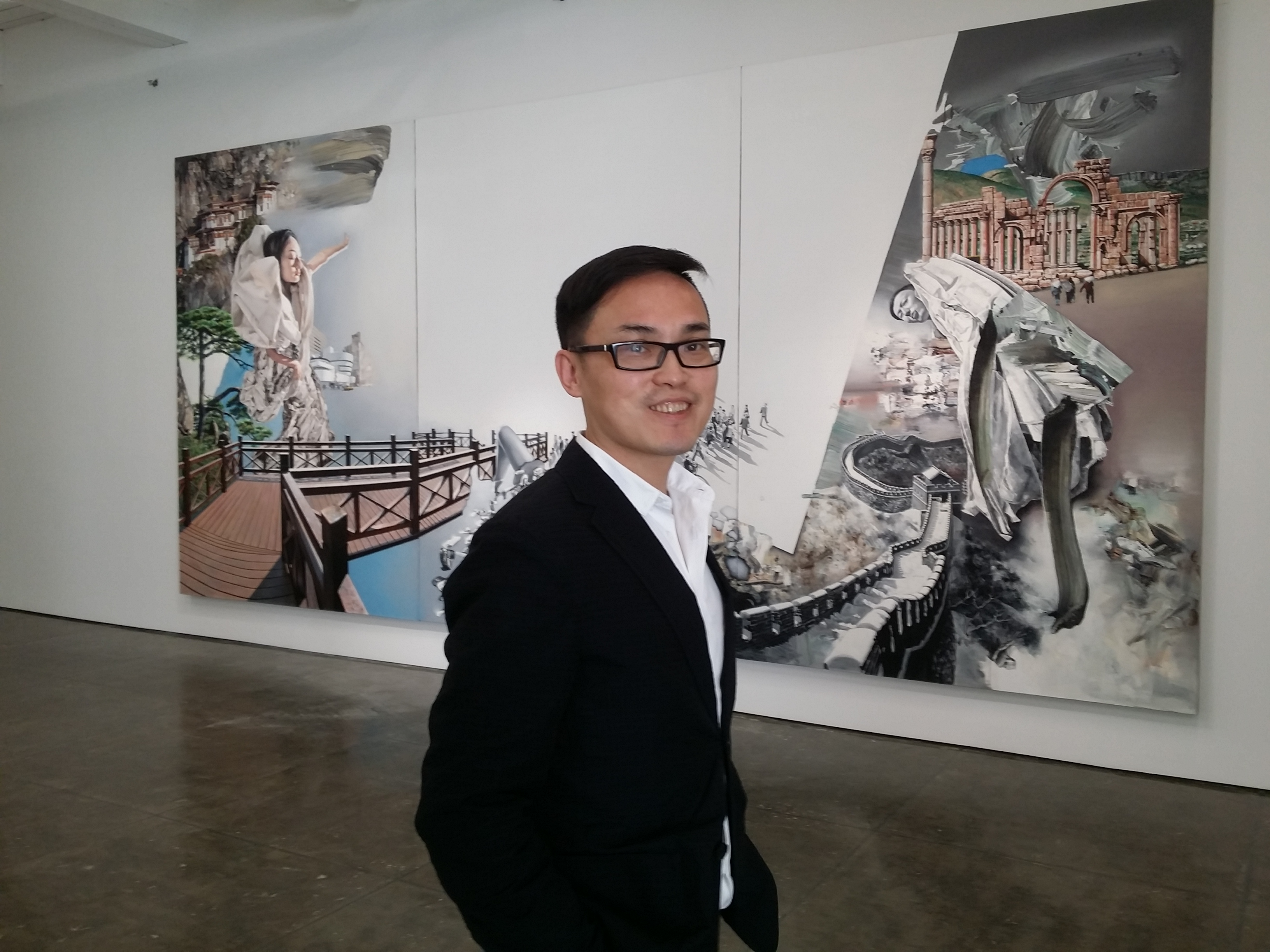 """Zhong Biao, at the Klein Sun Gallery for the opening of his show """"The Other Shore."""""""