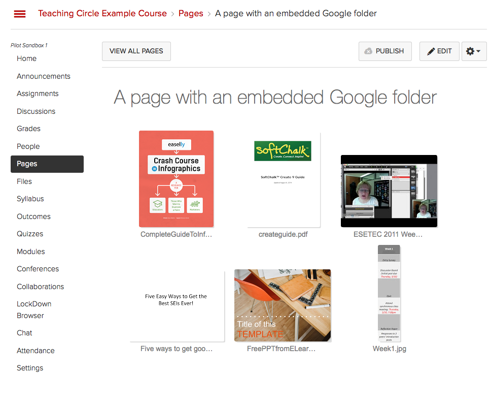 Google folder embedded in Canvas Page