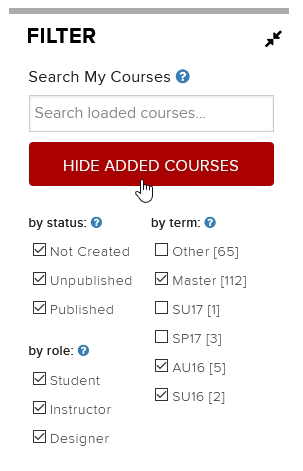Hide Added Courses
