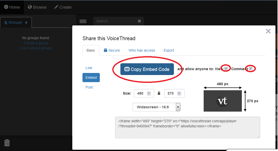 Embedding VoiceThread Videos into a Page/Post | College of