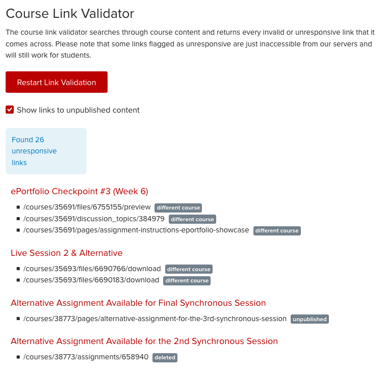 Course Link Validator
