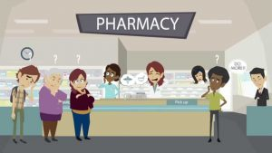 busy community pharmacy