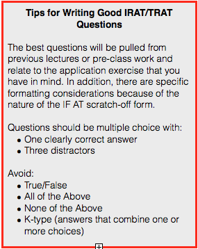 Tips for writing good IRAT/TRAT Questions.: Questions should be multiple choice with one clearly correct answer and three distrators. No more than four choices. Avoid True/False, All of the above, None of the above, K-type questions (answers that contain more than one choice)