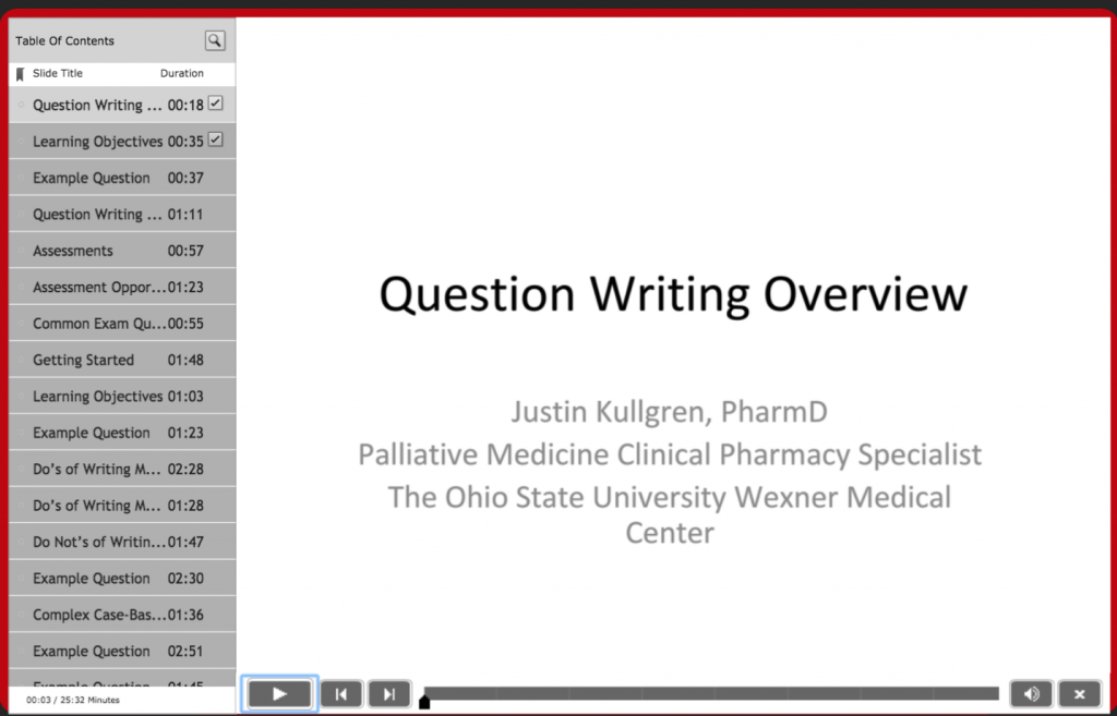 A screenshot of the Question Writing Overview Presentation. This links to the actual presentation.
