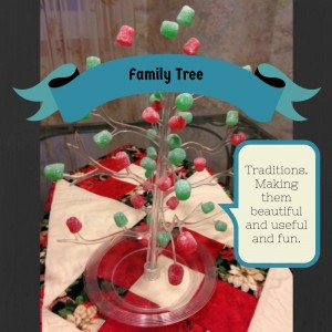 plastic display tree with gumdrops decorating the branches