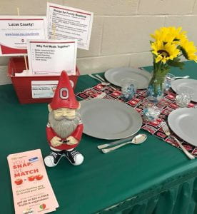 photo of gnome statue and table setting