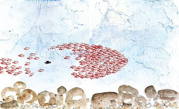 Painting by Leo Lionni of fish working together