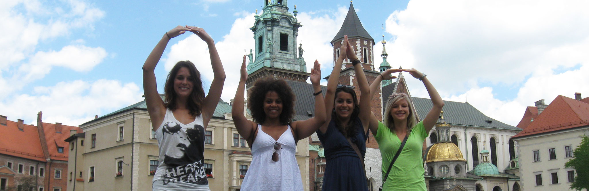Ohio State students participate in O-H-I-O during a study abroad trip.