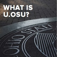 "closely cropped Image of OSU seal with the words ""What is U.osu?"" superimposed over image"
