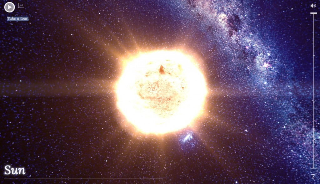 A glowing yellow sun with blue, white, and pink band of stars in the background.