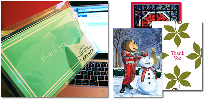 Two images. On left, a box of multicolored generic thank you cards. On right, three OSU themed cards.