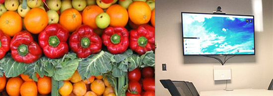 A photo of fresh vegetables juxtaposed next to a photo of a videoconference room