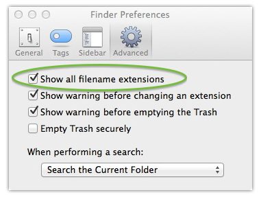 Screenshot of Finder window showing a the checkbox to show all filename extensions