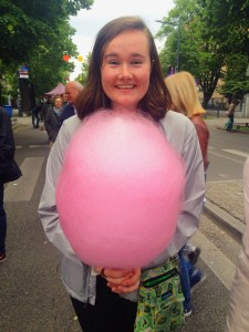 When we travelled to Warsaw, we went to a food and artisan festival. They had this insanely large cotton candy that took forever to eat but was delicious!