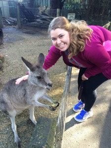 Allie Stevens with a Kangaroo