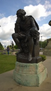 A fifth of the Shakespeare memorial in Stratford upon Avon