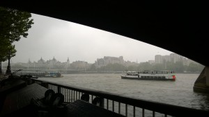 A classic London day under the Waterloo bridge