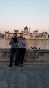 In front of the Budapest Parliament building in Hungary