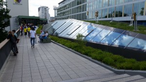 Green space on a mall roof in Berlin.