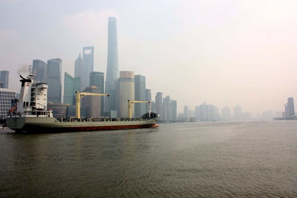 Boat on HuangPu River, Pudong Skyline