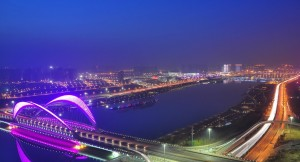 The photo is the night view of Taiyuan city, which is my favorite city. (Photo source: Taiyuan city from Baidu images.)