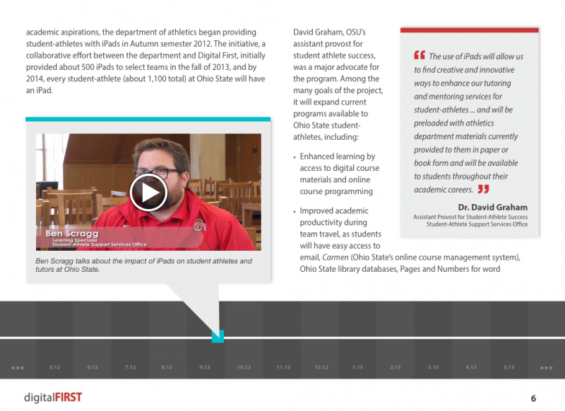Screenshot of a gray, blue and red book page with embedded video and fixed layout, created in Apple's iBooks Author app.