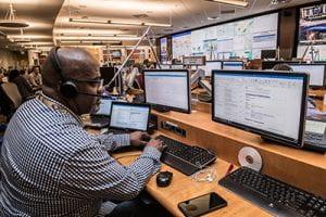 man working in emergency center