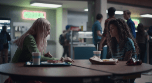 Jules and Rue sitting at a lunch table.