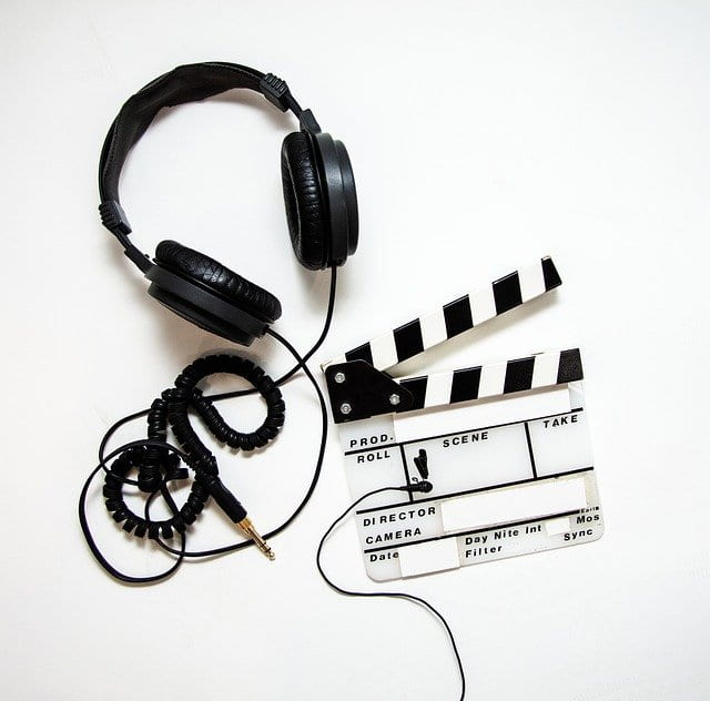 mage shows headphones, video clapboard, and lavalier microphone