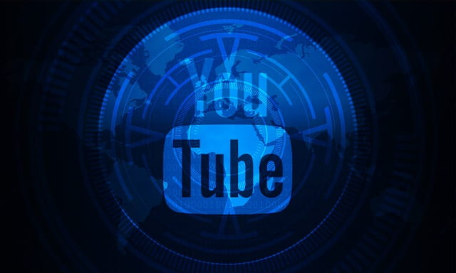 Blue composited image with world in background showing YouTube icon in foreground