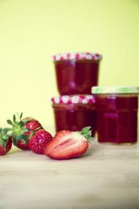 strawberries and strawberry jam