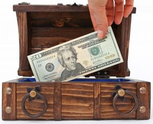 Wooden chest with $