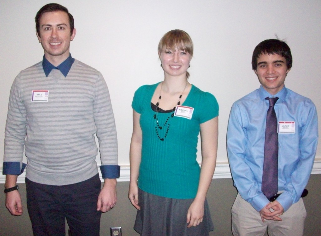 Session II Oral Presenters- Barbie Tootle Room (from left): Kyle Bartholomew, Rachel Brown & Micah Gerhardt.