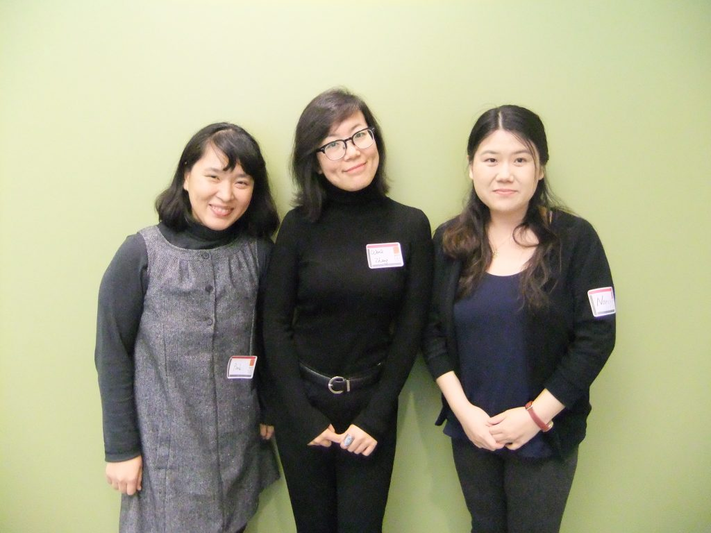 From left: Eunjeong Park, Wenli Zhang, Nancy (Yanan) Zhao.