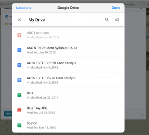iOS Upload Step 3 - Select the file you would like to upload from the Google Drive document picker