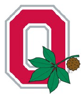 Red block O with buckeye leaves