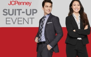 Man and woman dressed in suits with the words JCPenney Suit-Up Event