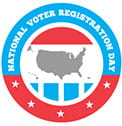 National Voter Registration Day logo; red and blue encircling a gray image of the United States. The top of the logo says NATIONAL VOTER REGISTRATION DAY in white with a blue background and the bottom of the logo has 5 white stars with a red background.