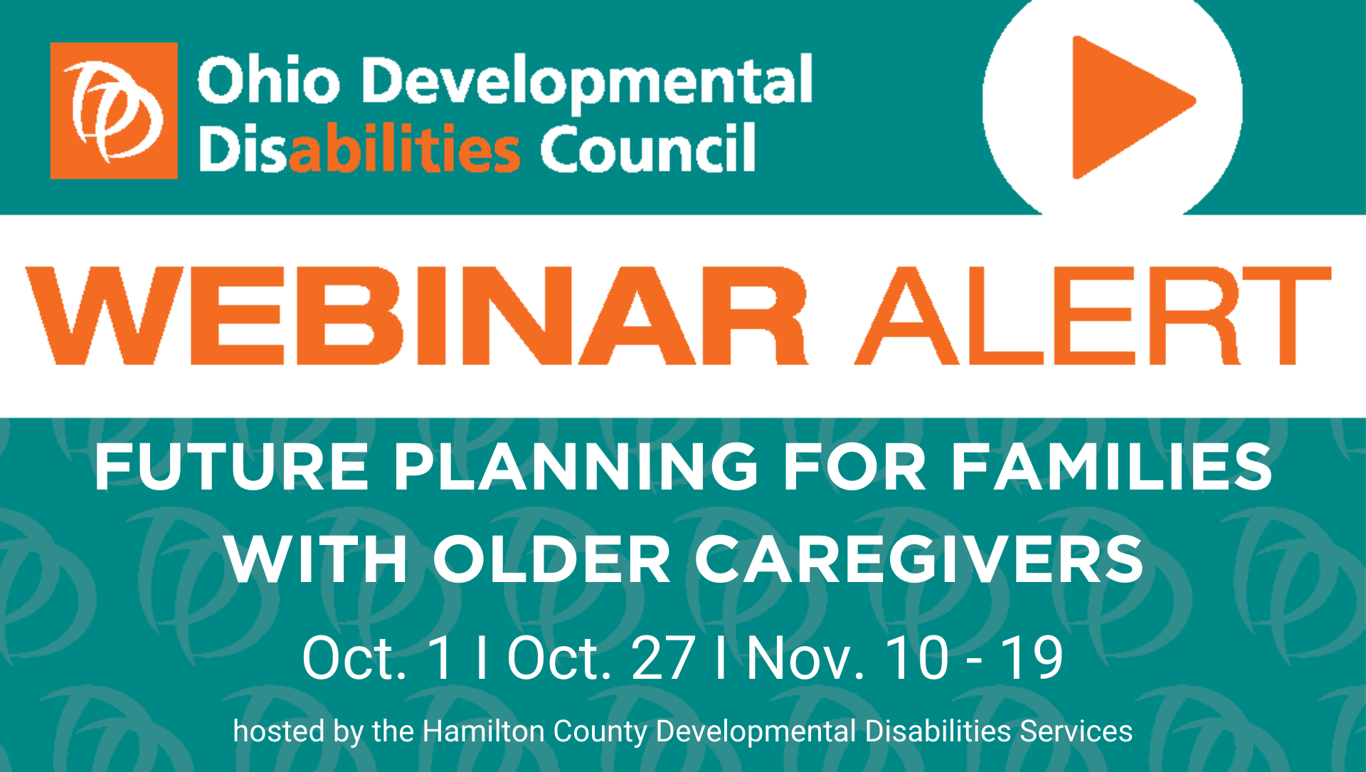 Orange and turquoise flyer for Aging Caregiver Webinar; all details described in post.