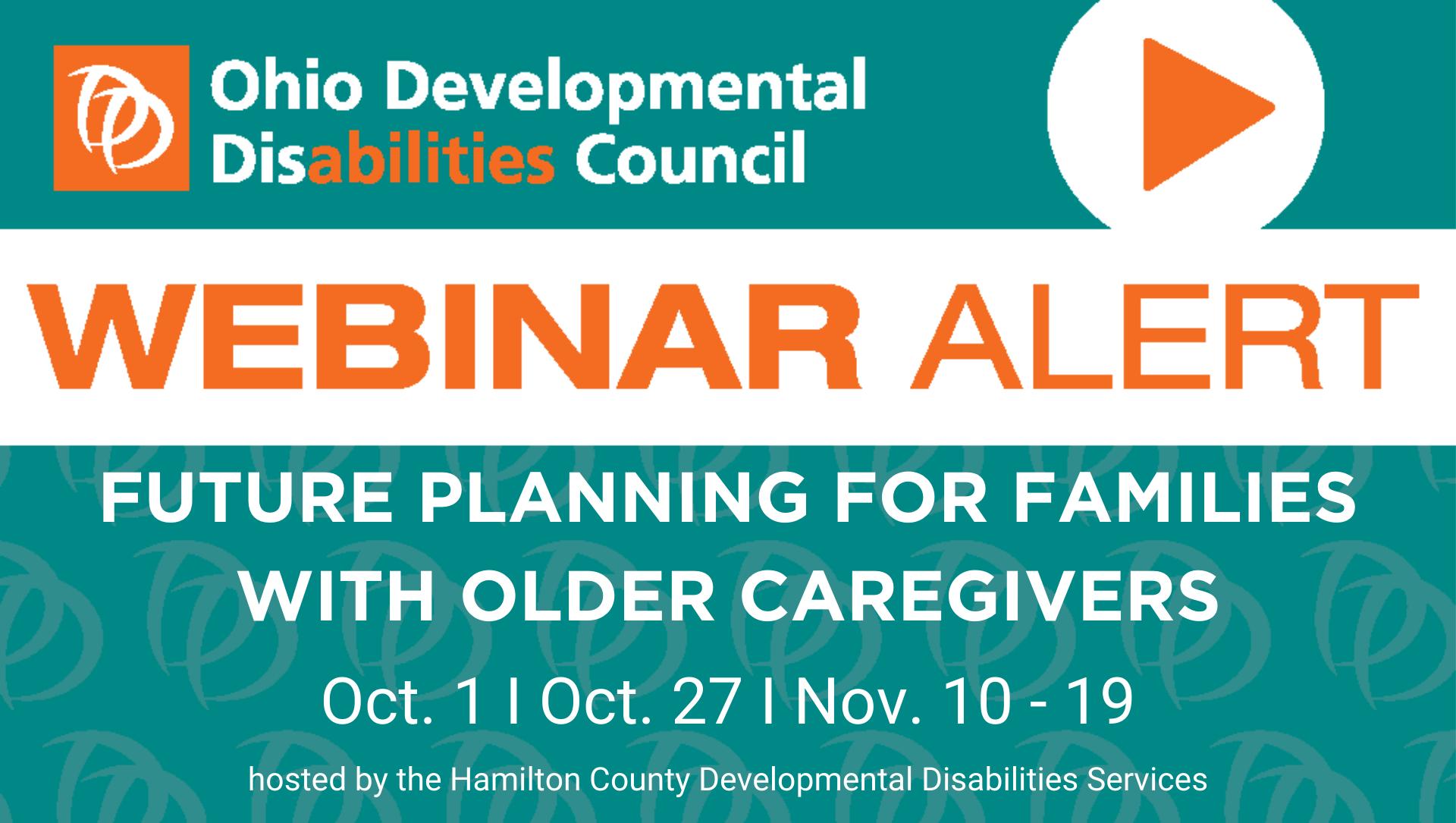 Orange and turquoise flyer for Aging Caregiver Webinar; all details described in post.