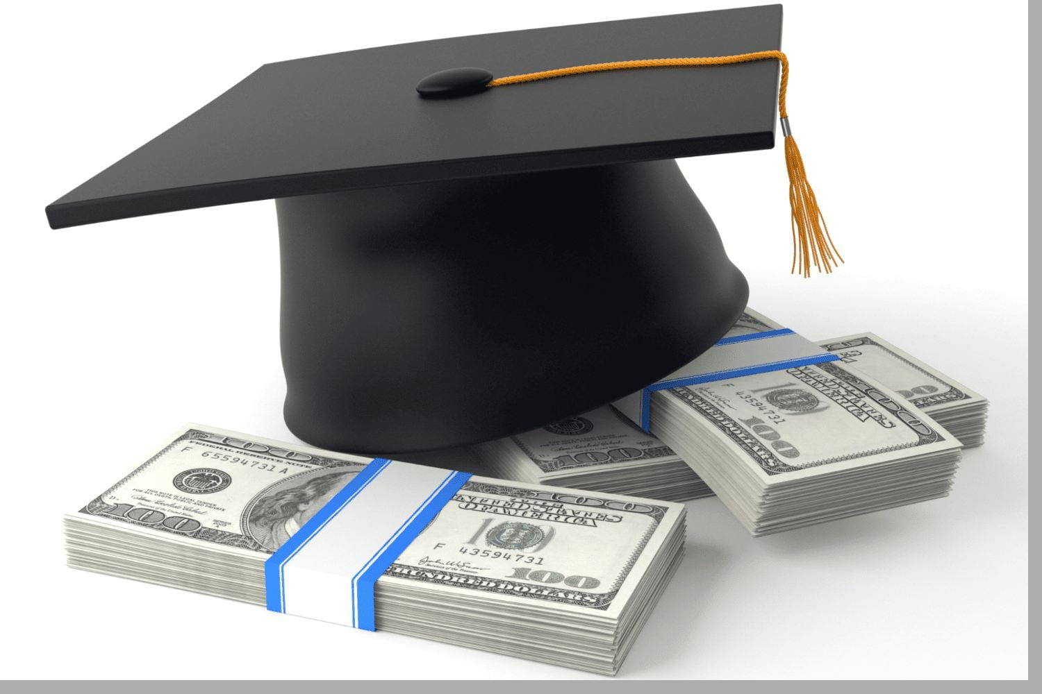 Image of a black graduation cap sitting on top of 3 bands of money to represent college scholarships