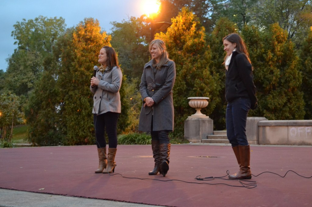 Members of The Generation Rx Collaborative (l-r) Julianne Mazzola, Kelsey Kresser, and Bethany Hipp, which hosted the NOPE Candle Light Vigil at Ohio State on October 21, 2014