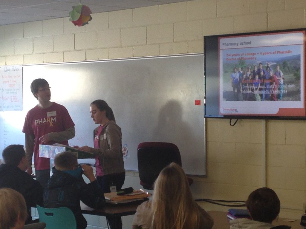 University of Minnesota Generation Rx members present an activity to middle and high school students. (Photo courtesy of Landon Weaver.)
