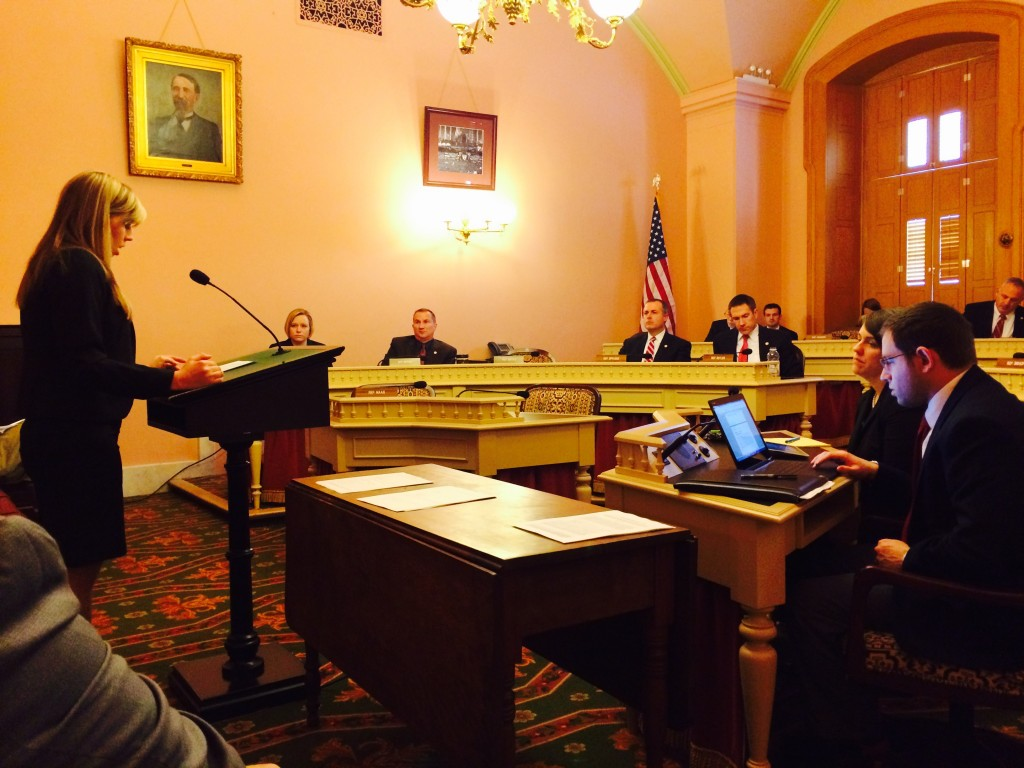 Pharmacy student Kelsey Kresser testified before the Ohio House of Representatives Health & Aging Committee about HB 4 on February 18, 2015. (Photo courtesy of Ken Hale.)