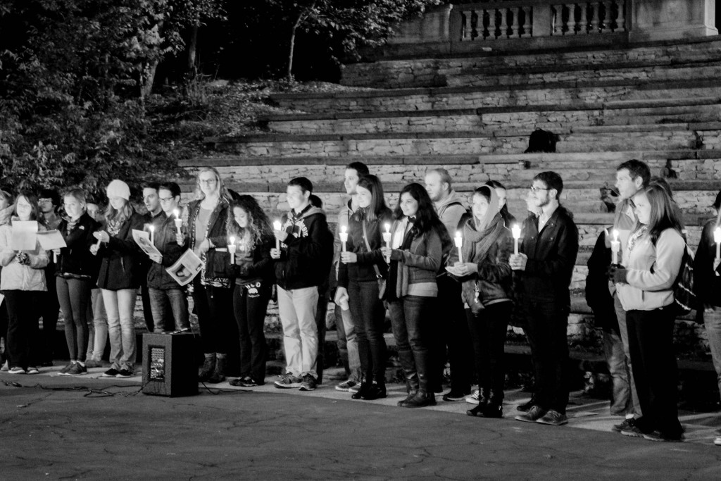 Students and community members gather for a candlelight vigil at The Ohio State University on October 29. 2015 (photo courtesy of Wendy Lin).