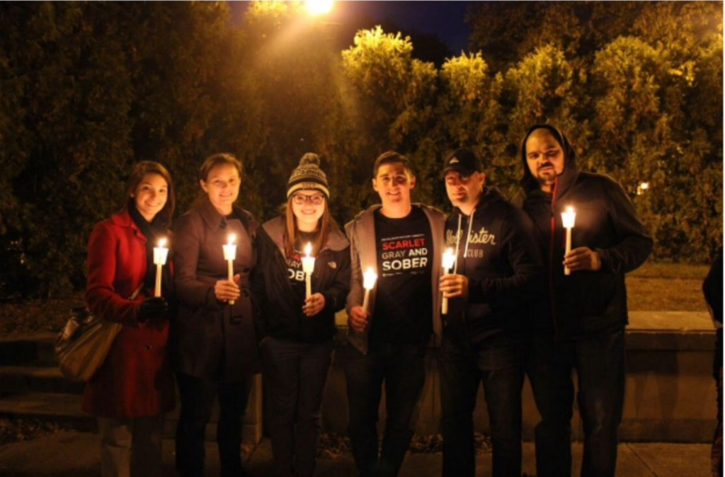 The CRC at the 2015 NOPE Candlelight Vigil, where one of our members shared a recovery story (photo courtesy of Sarah Nerad).