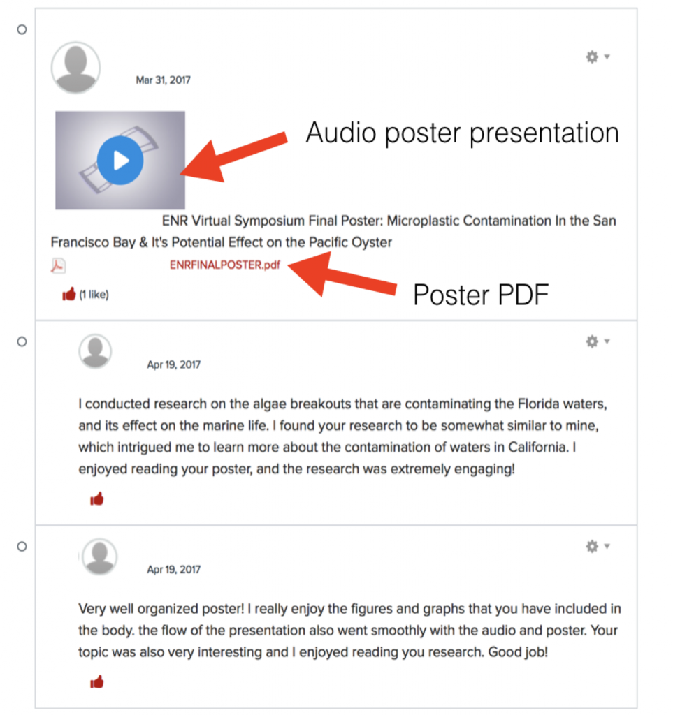 sample of the virtual poster symposium with audio presentation and poster attachment with student comments on the submission in the Carmen discussion board