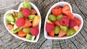mixed fruit in heart shaped bowls