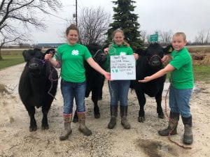 3 4-H'ers with beef cattle and signs thanking essential workers