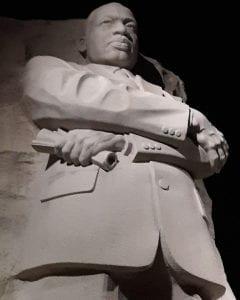 Martin Luther King, Jr. memorial at night